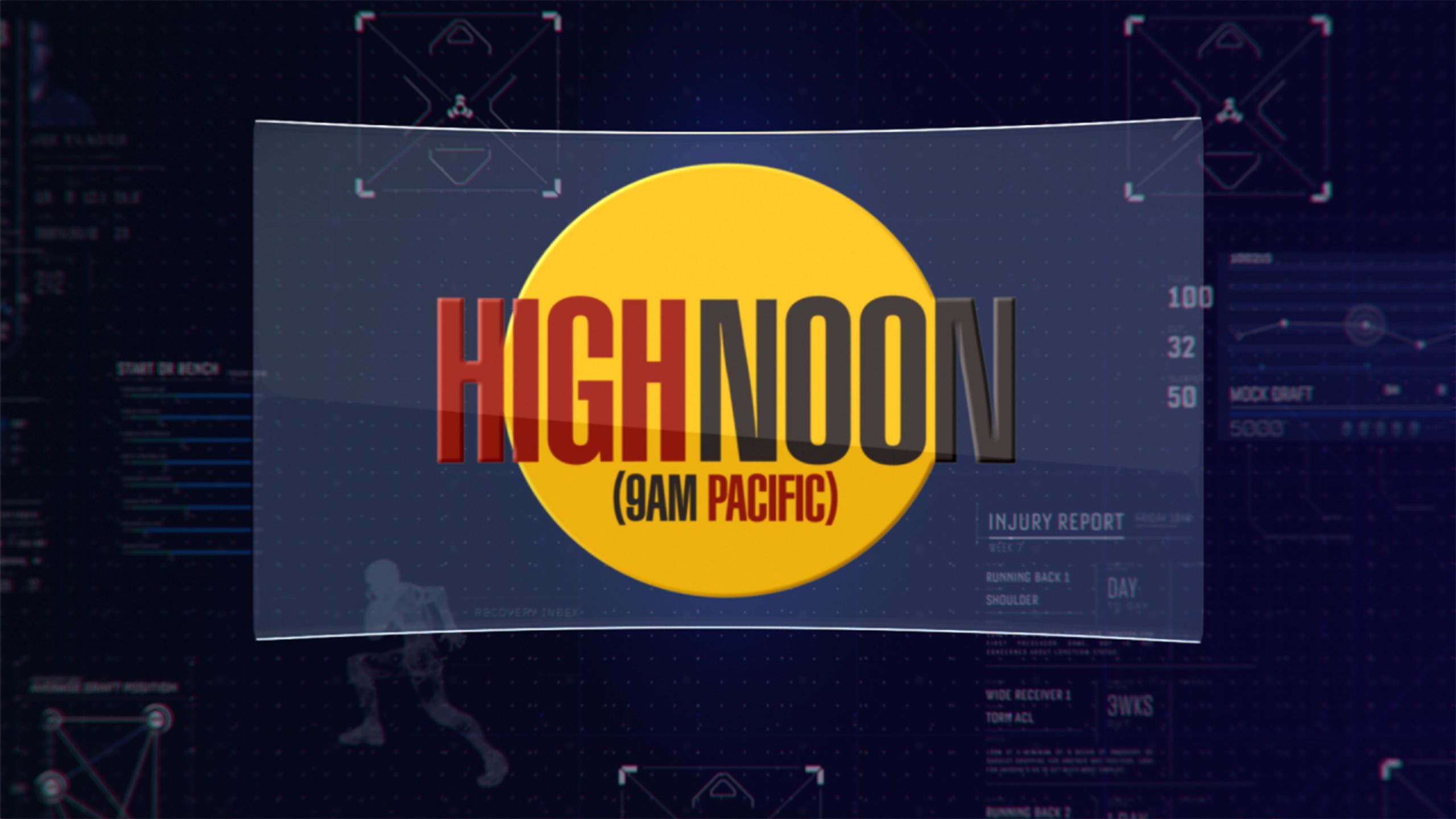 HIGH NOON (9am Pacific) as Part of The ESPN Fantasy Football Marathon