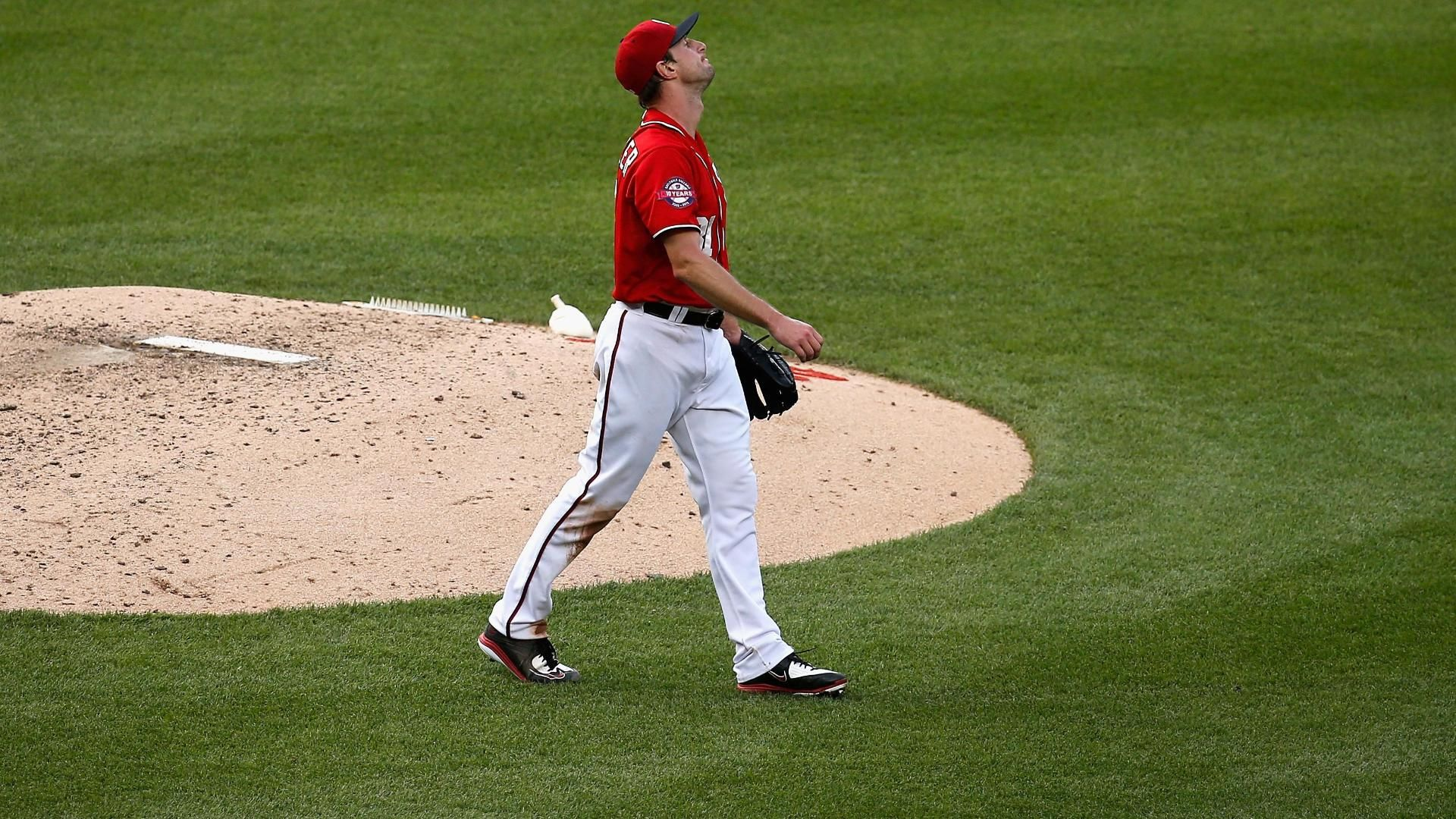 Scherzer loses perfect game on HBP