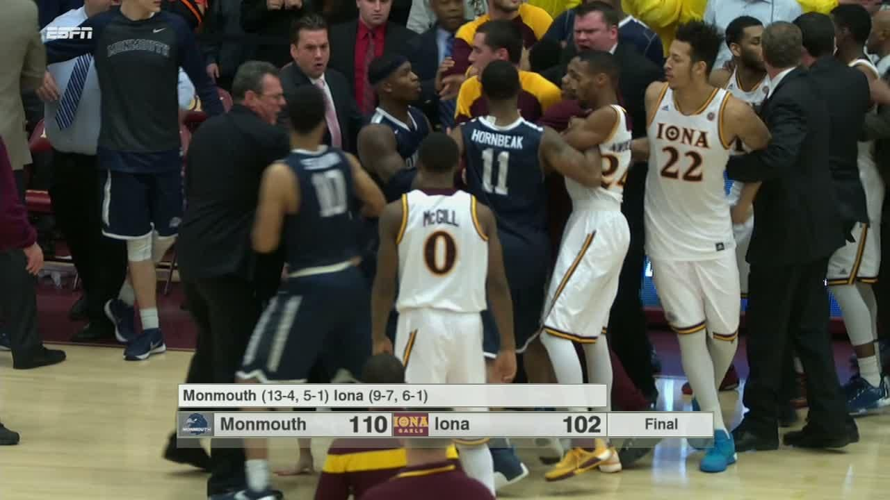Tempers flare between Monmouth and Iona