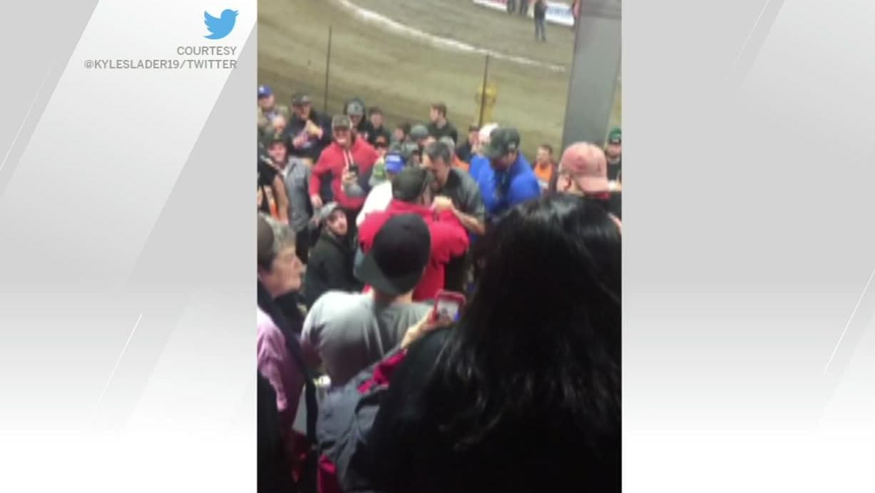Tony Stewart confronts fan in stands