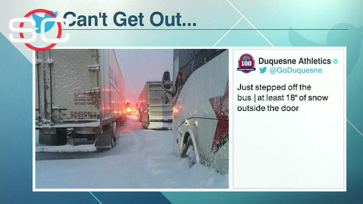 Duquesne men's basketball team stuck in storm