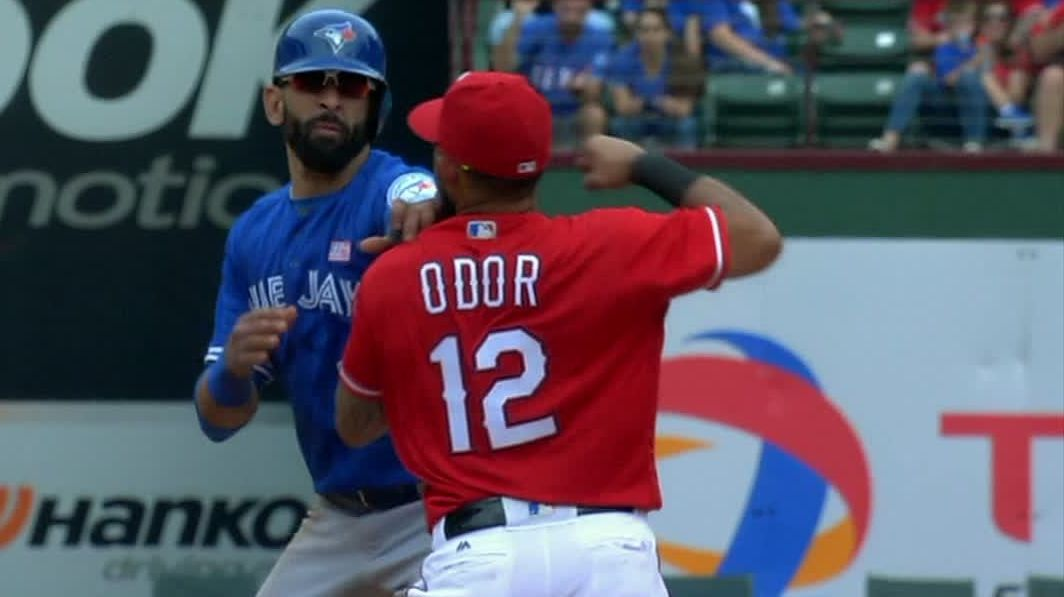 Benches clear after Odor slugs Bautista