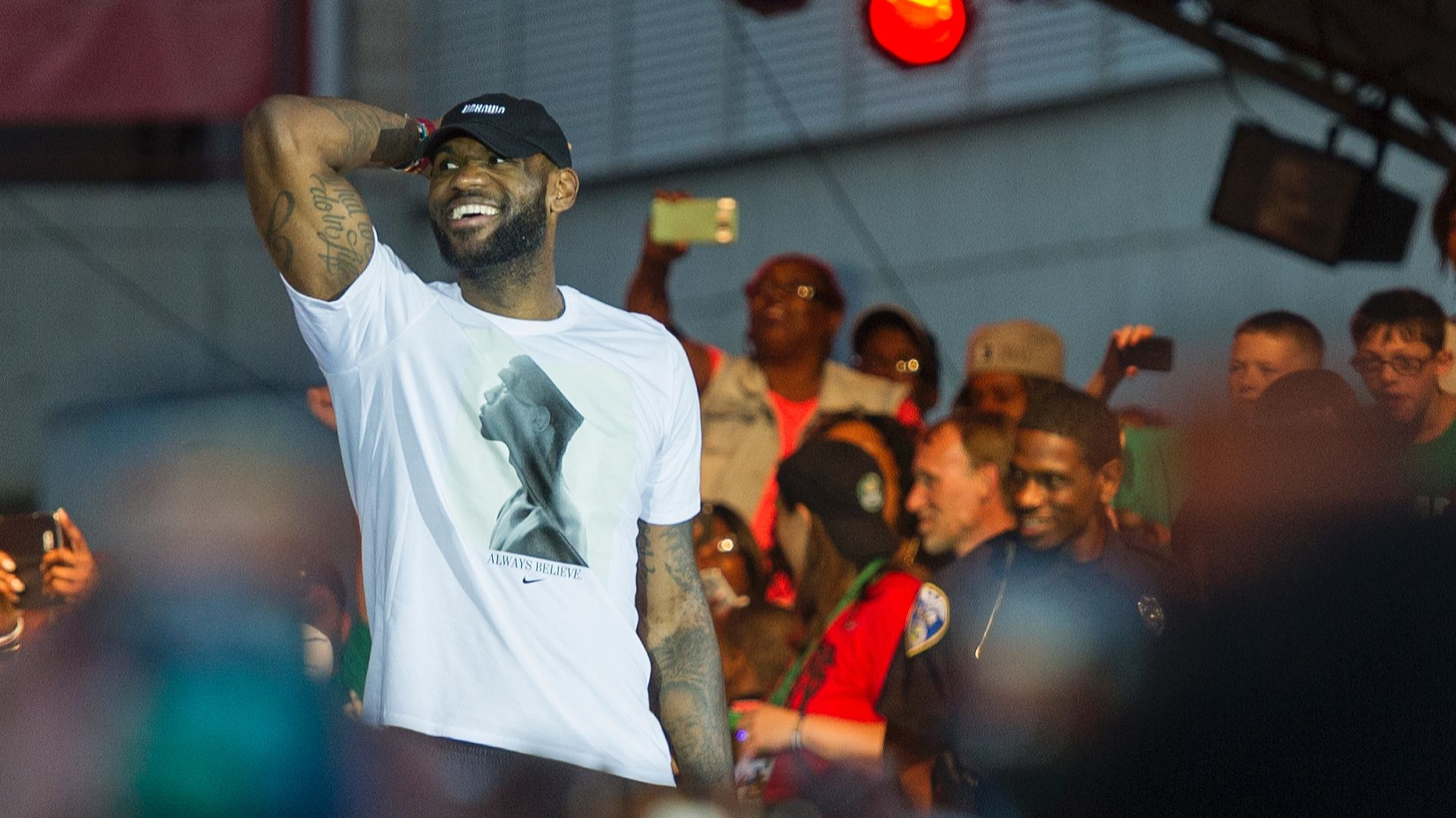 LeBron overcome with emotion in return to Akron