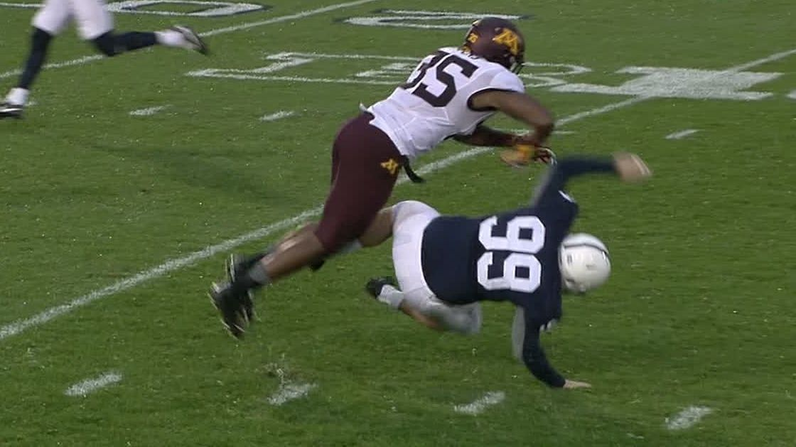 Minnesota LB ejected for leveling PSU kicker