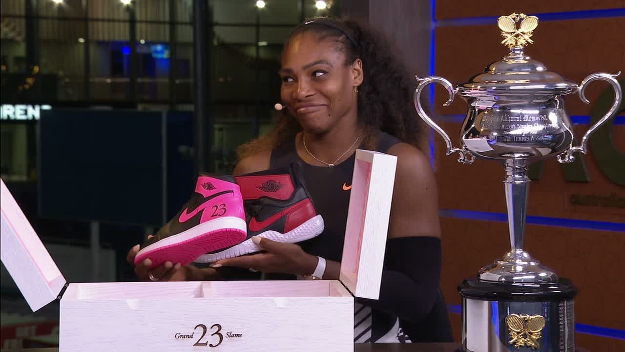 Serena Williams gets a gift from Michael Jordan