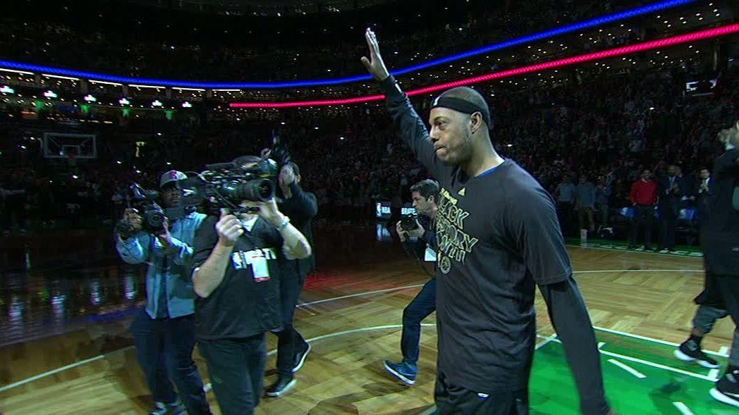 Pierce receives rousing ovation in return to TD Garden