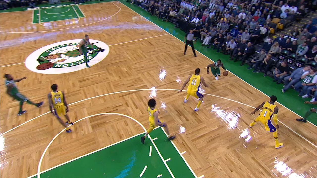 Irving dribbles all over the Lakers
