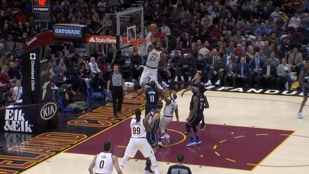I.T. tosses it up for LeBron who does the rest