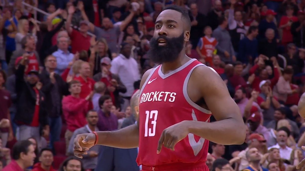 Harden's clutch three seals W for Rockets