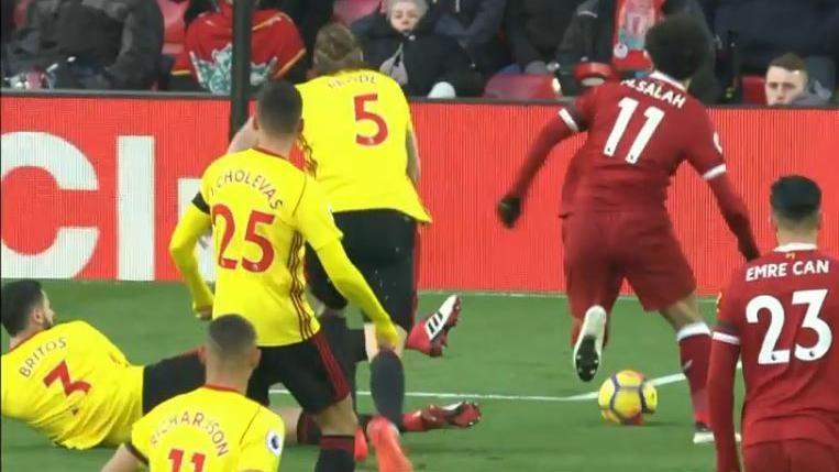 WATCH: Salah scores 25th Prem goal in style