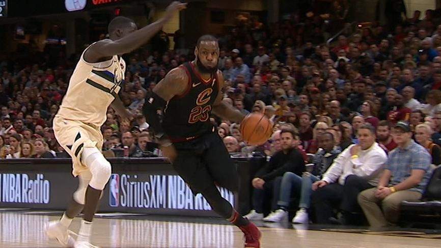 LeBron races in for two-handed jam
