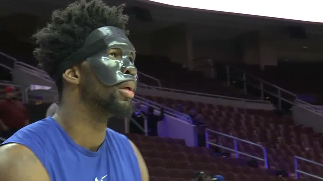 Embiid shows off new mask