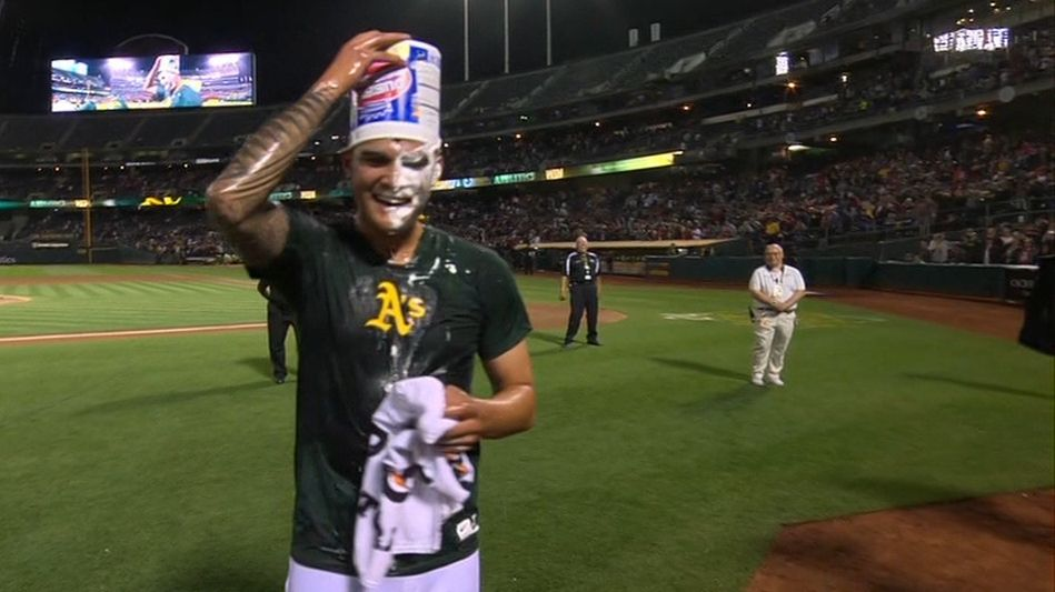 Manaea gets doused by teammates after no-no