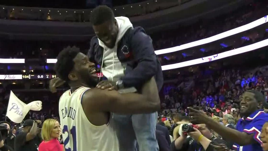 Embiid celebrates win with Kevin Hart