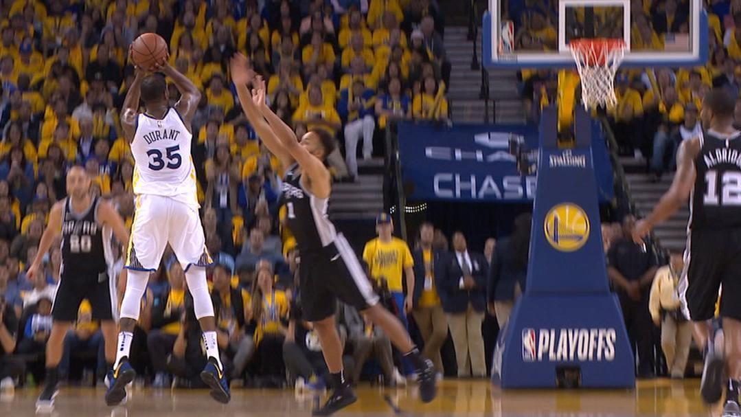 Oracle Arena goes wild after Durant triple.