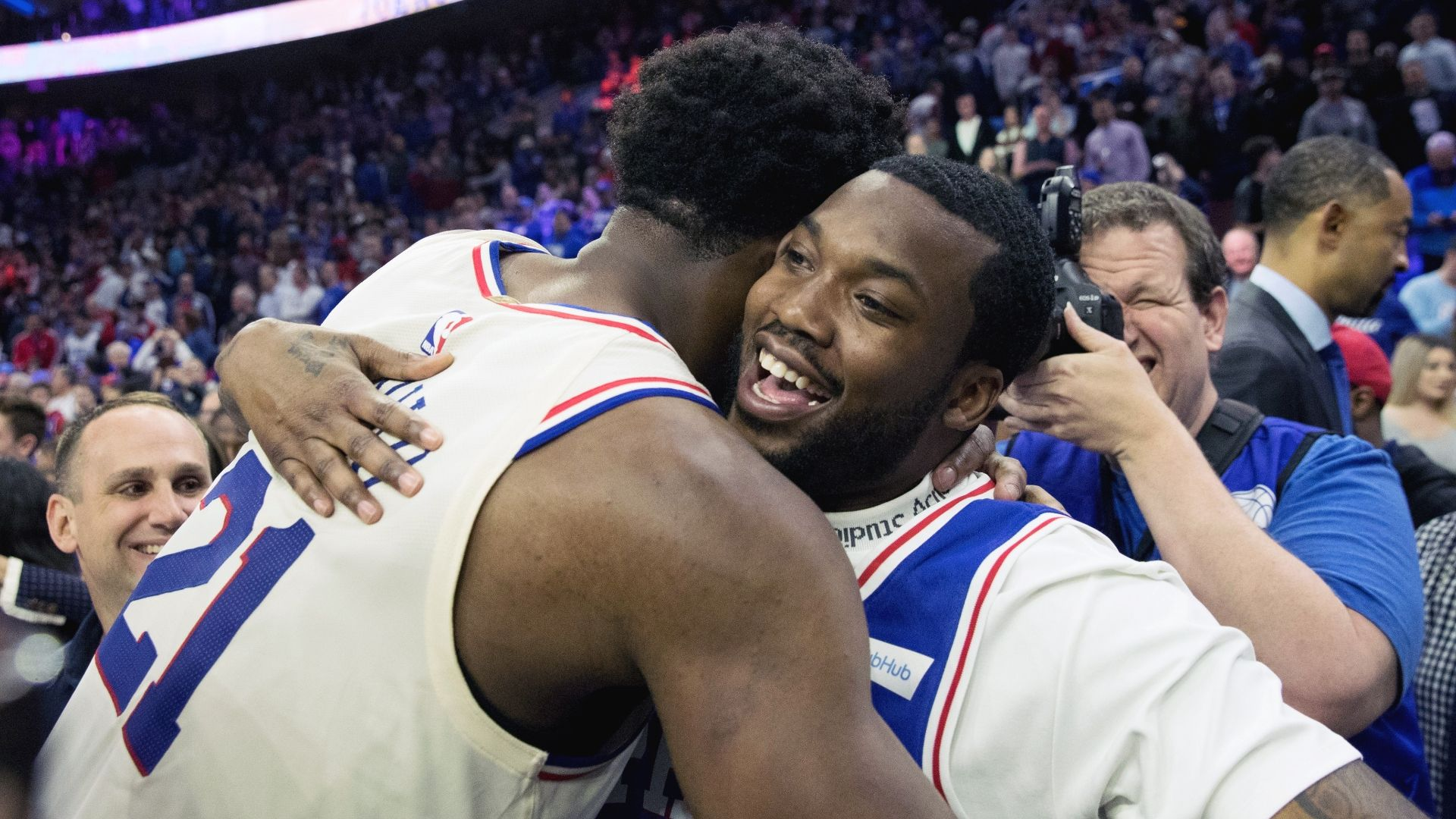 Meek Mill enjoys his freedom at 76ers' game