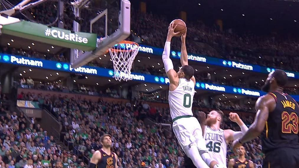Tatum gets to the rim and finishes with two hands