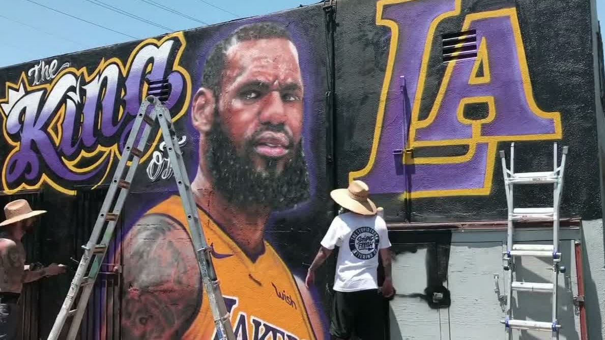 Watch LeBron's L.A. mural come to life