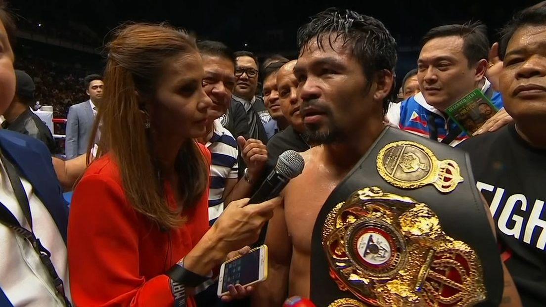 Pacquiao thankful after TKO win over Matthysee