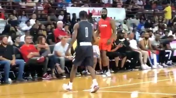 Harden lobs to Westbrook, crosses up Travis Scott