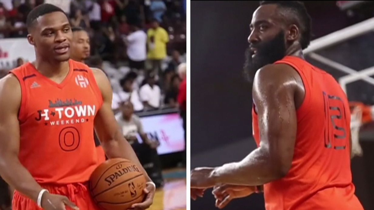 Russ and Harden put on a show in celebrity game