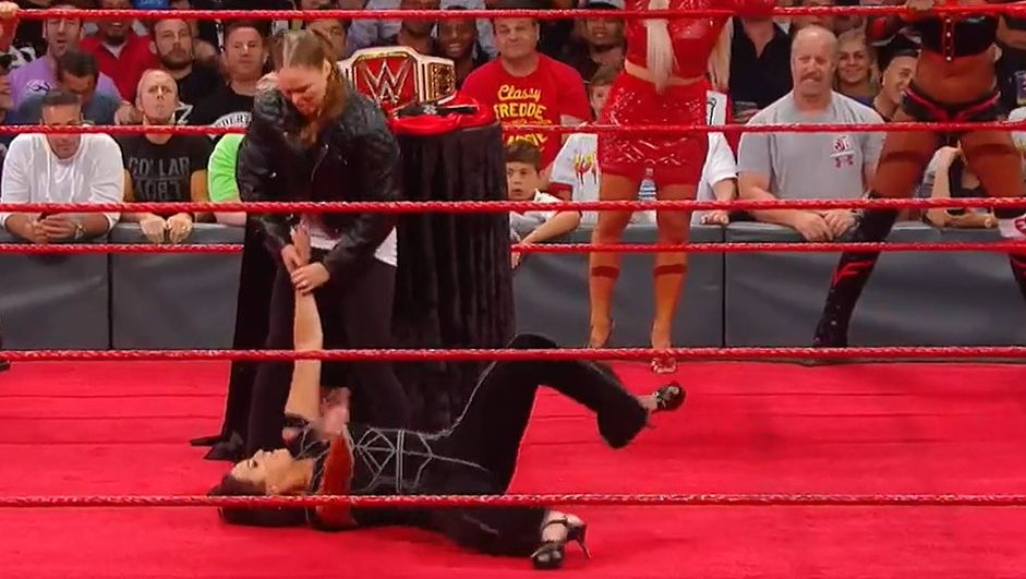 Ronda gets Stephanie in an armbar