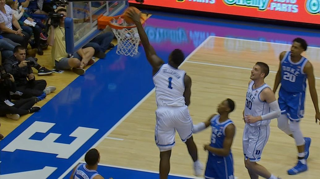 Zion rocks the rim on monstrous dunk