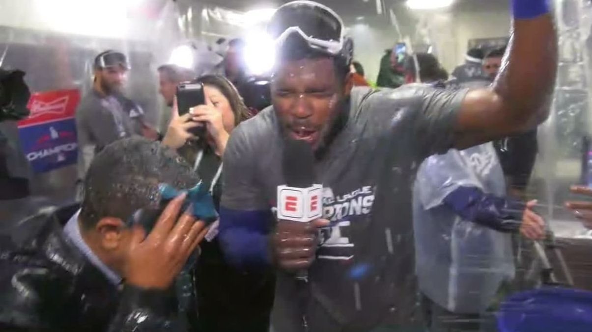 Puig drenches ESPN Deportes reporter with water