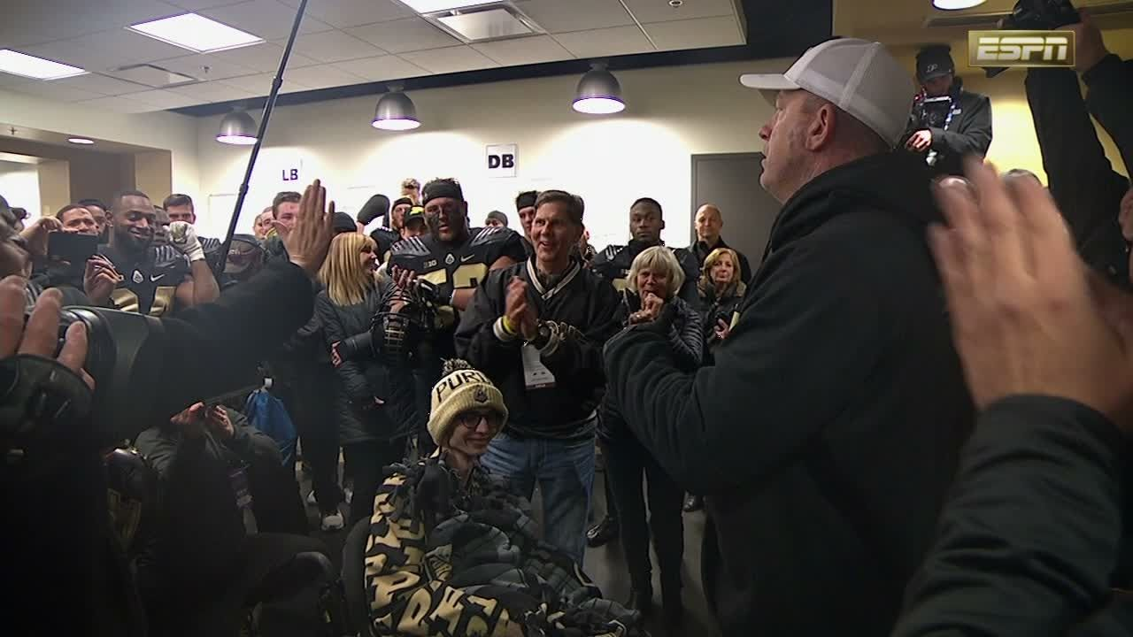 Tyler Trent speaks to the Boilermakers after win over Ohio State