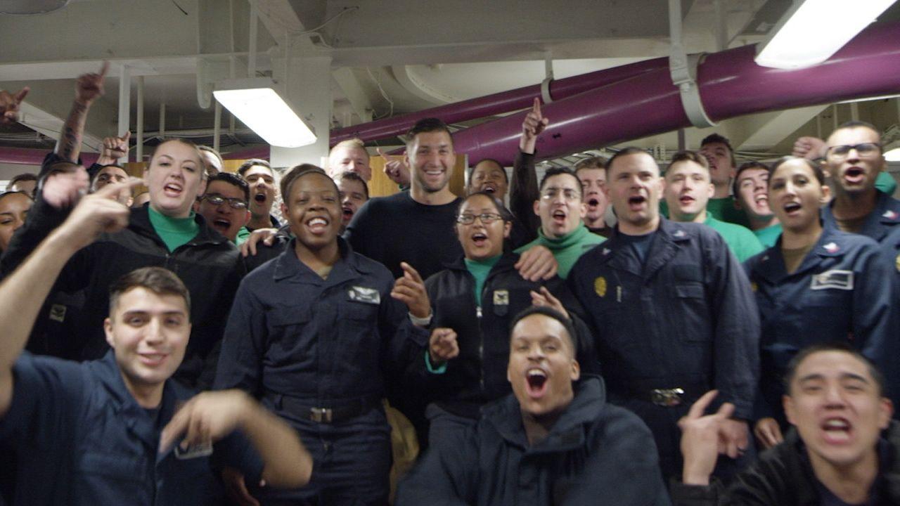 Tebow sets sail on USS Carl Vinson