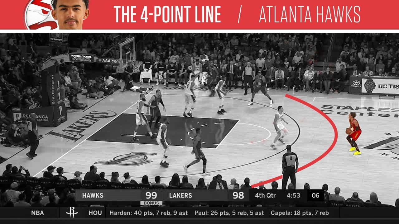 Hawks use '4-point line' to create space.