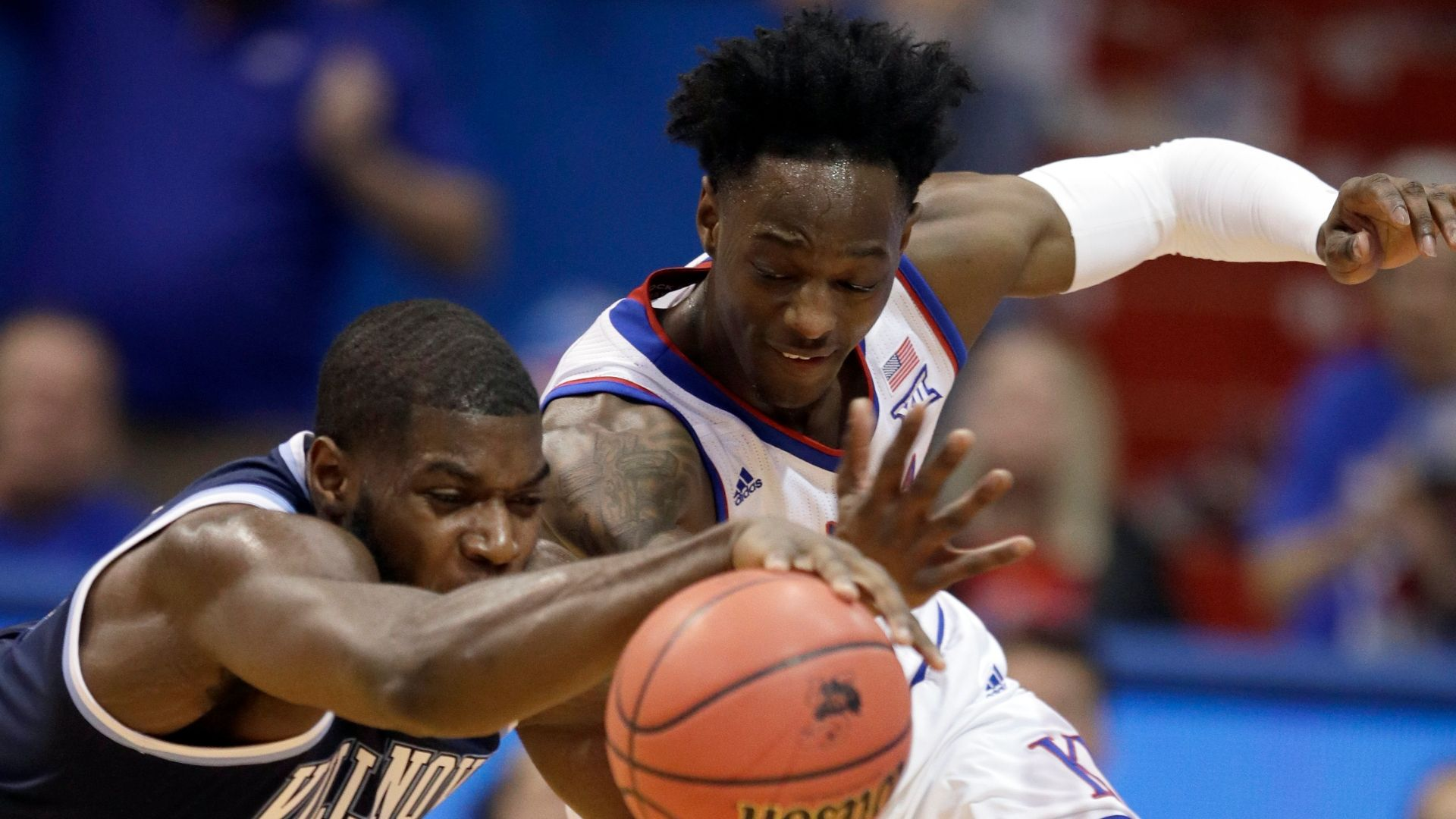 No. 1 Kansas holds off Nova in back-and-forth contest