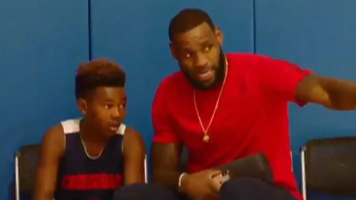 LeBron gives his son Bryce a pep talk