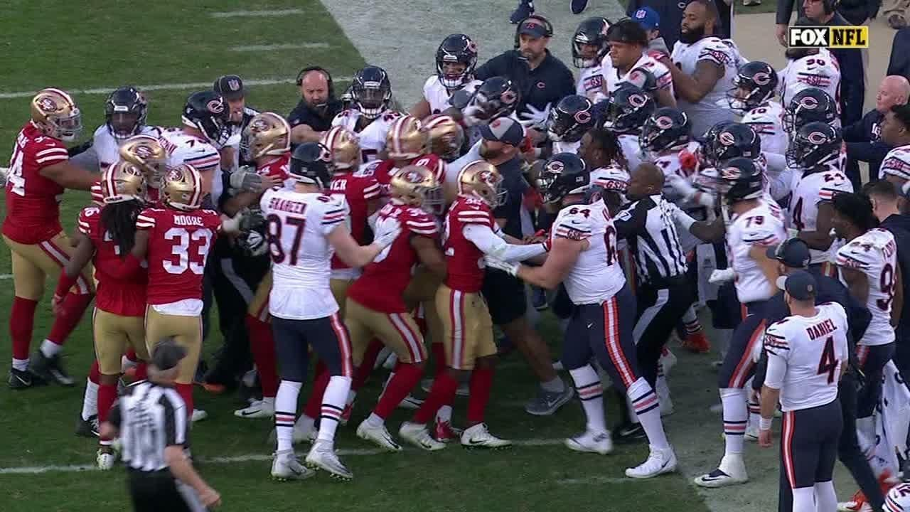 Bears' Bellamy, Miller and 49ers' Sherman ejected for fighting