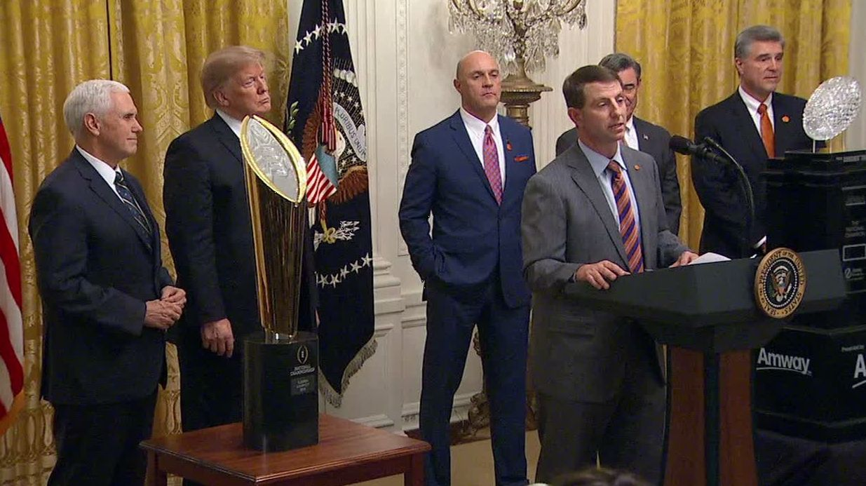Dabo quotes Tyler Trent during speech at White House
