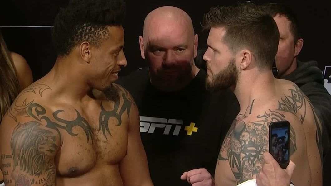 Hardy flashes smile at Crowder during staredown