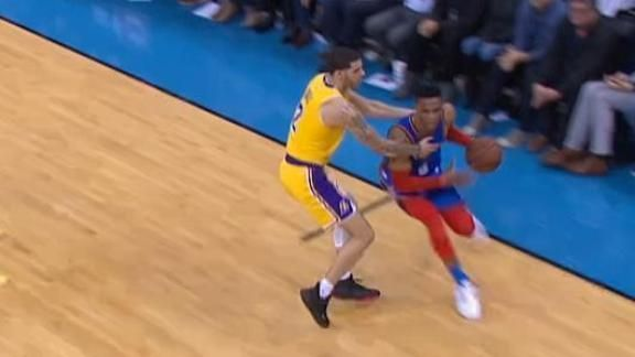 Lonzo makes mistake fouling Russ, sending game to OT