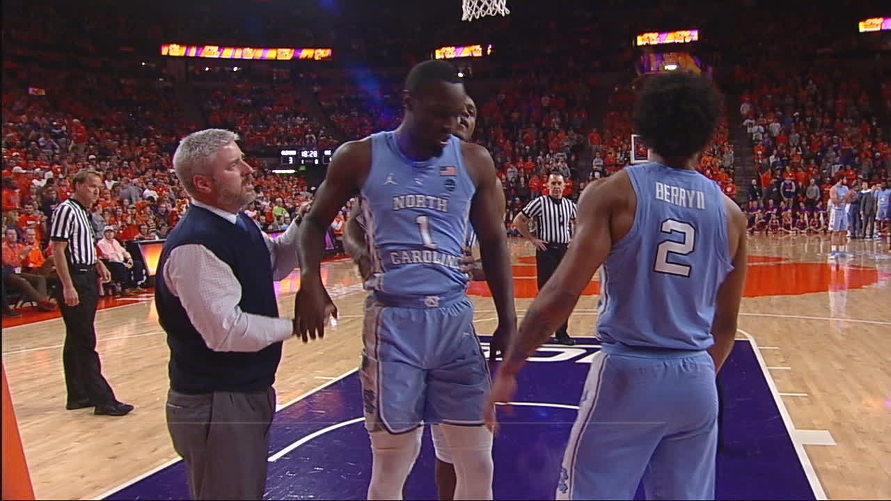 Pinson heads to UNC locker room after awkward fall