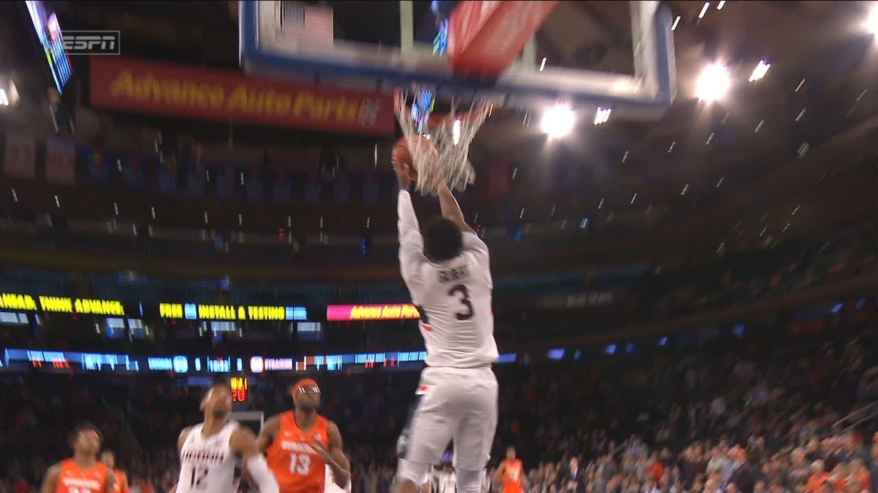 Gilbert gets stuffed by rim on wide-open dunk