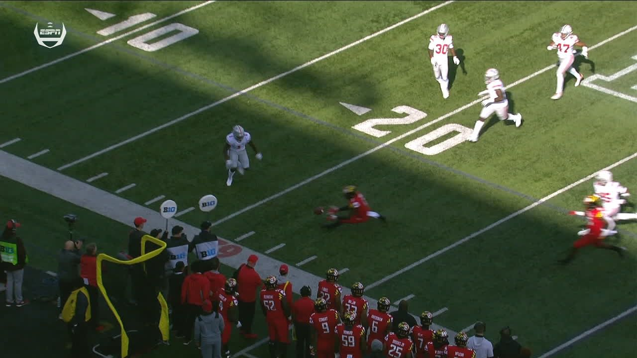 Maryland recovers kickoff after odd bounce