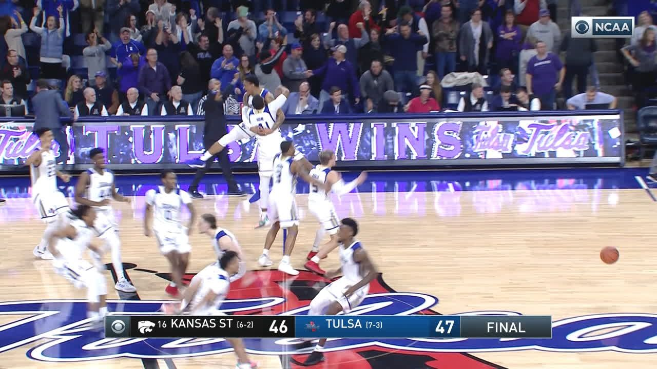 Crowd storms floor as Tulsa upsets No. 16 Kansas State