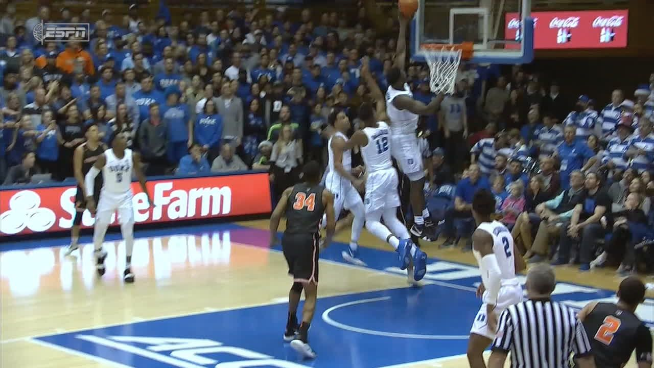 Zion gets way up there for the block
