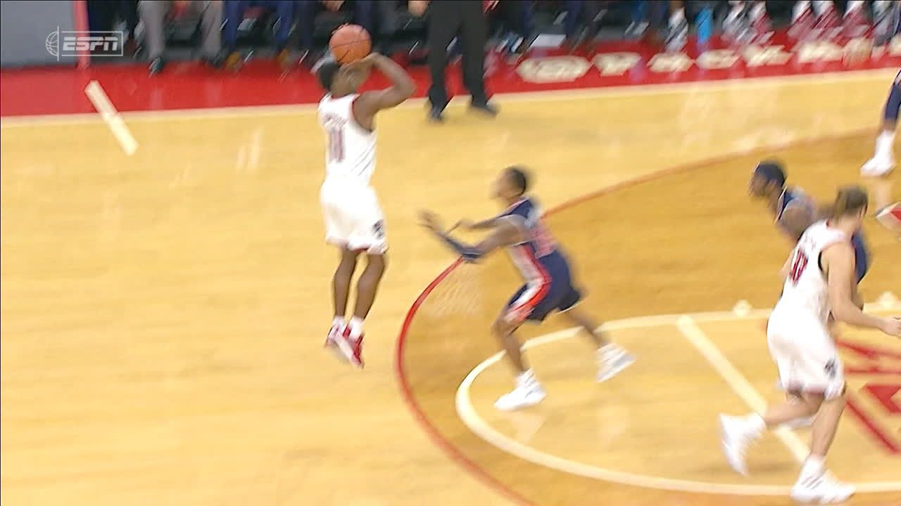 NC State's Johnson drains the 3 while fouled