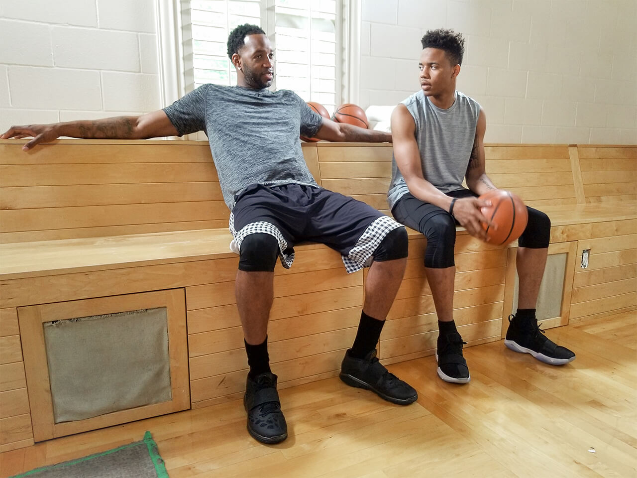 Houston, TX: Tracy McGrady with draft prospect Markelle Fultz getting advice on entering the league. - Captured on a Samsung Galaxy S8